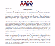 Urgent Statement Government urged to review root causes of the management of migrant workers to restore confidence in the management of migrant workers